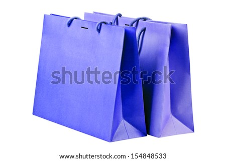 Two  blue shopping bags on white