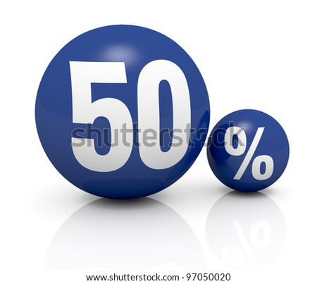 two blue spheres, one with the number 50 and the other with the percent symbol (3d render) - stock photo