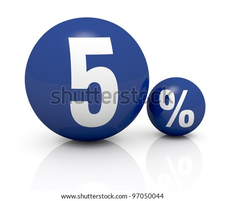 two blue spheres, one with the number 5 and the other with the percent symbol (3d render) - stock photo