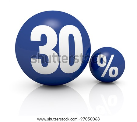 two blue spheres, one with the number 30 and the other with the percent symbol (3d render) - stock photo