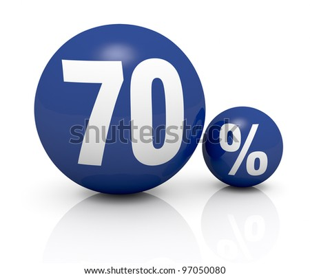 two blue spheres, one with the number 70 and the other with the percent symbol (3d render) - stock photo