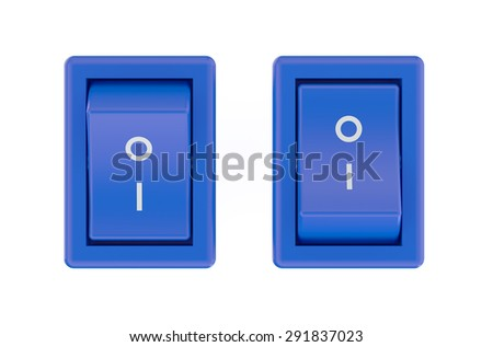 two blue switch  isolated on white background