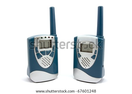 Two  blue walkie-talkie isolated on white background - stock photo