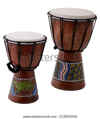 two bongo drums isolated on white - stock photo