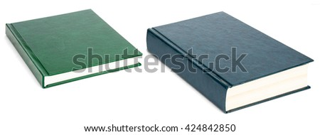 Two books with blank covers isolated on white background - stock photo