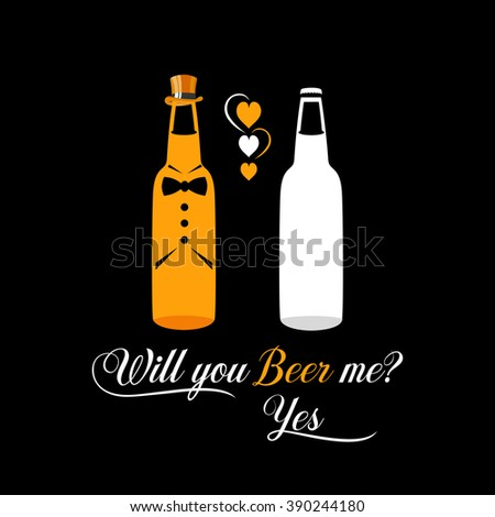 Two bottles of beer  as engaged couple of gays illustration. Funny beer poster for pubs and bars. Cool print design for bachelor party. Proposal idea poster. - stock photo