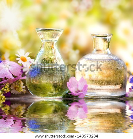 Two bottles of herbal essences with a beauty flowers, Spa, homeopathy and health care concept - stock photo