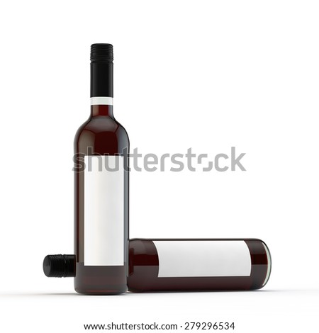 two bottles of red wine one stands, and the second lies against - stock photo