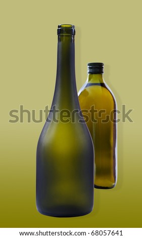 Two bottles with clipping paths on the green background.