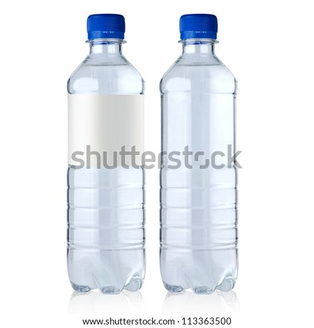 two  bottles with water it is isolated on a white background - stock photo