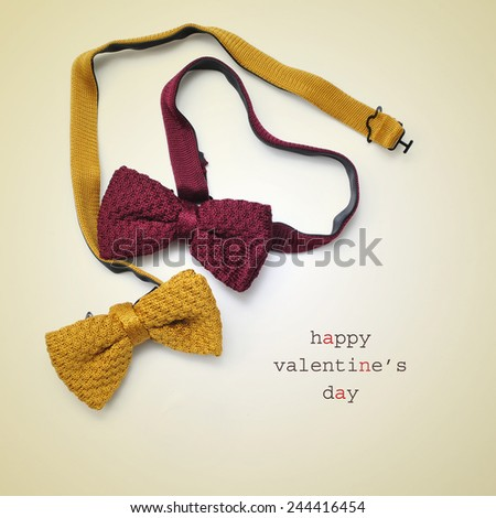 two bow ties, one of them forming a heart, and the text happy valentines day written on a beige background - stock photo