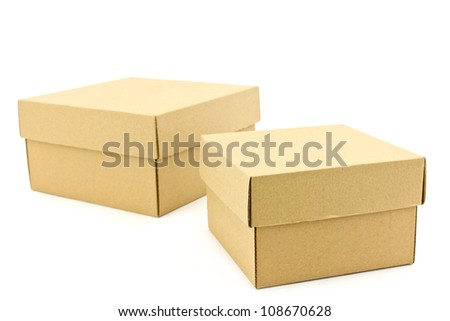two box from cardboard on white background