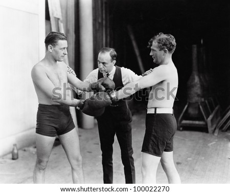 Two boxers and a referee