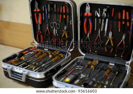 Two boxes with instrument sets - stock photo