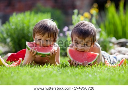 Two boys, eating watermelon in the garden, summertime - stock photo