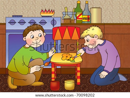 two boys paint a kitchen chair, using a flammable paint thinner - stock photo