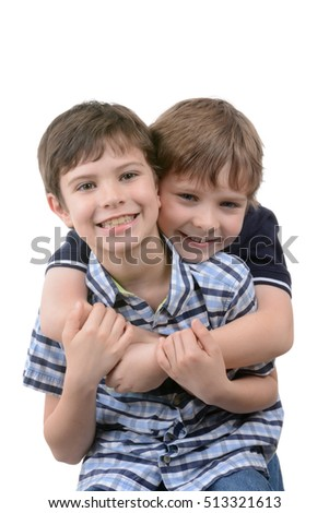 two boys playful isolated white background