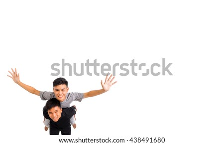 Two boys ride back isolated