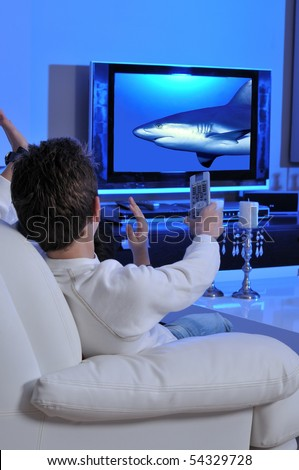 Two boys watching underwater documentary on TV - stock photo
