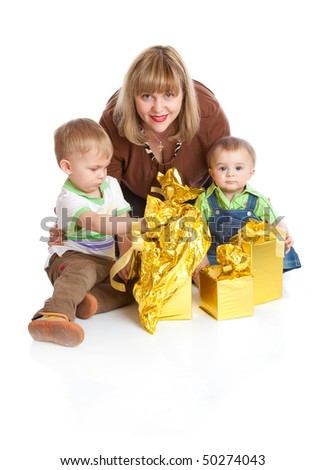 Two boys with gifts. Isolated on white background - stock photo