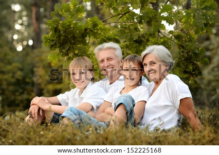 Two boys with their grandparents sitting on a meadow in summer