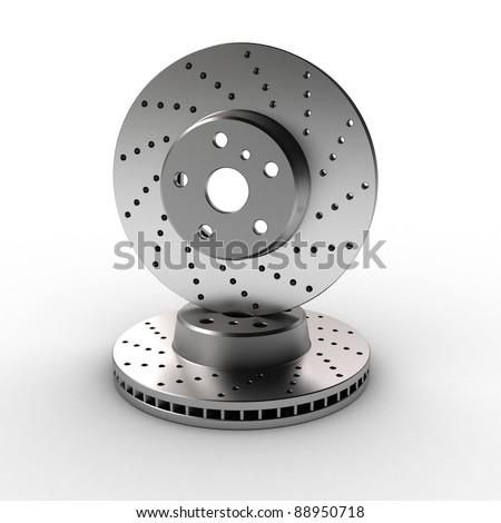 two brake discs on white background - stock photo