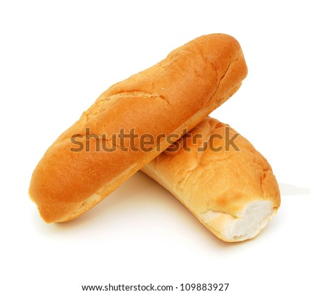 Two bread on a white background.
