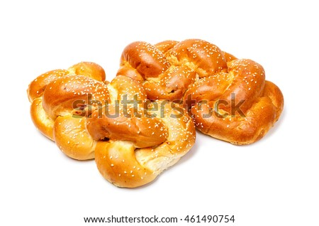 Two brided shabbat challah isolated on white background