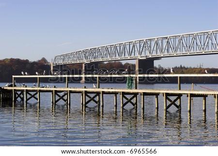 Two bridges in Denmark - stock photo
