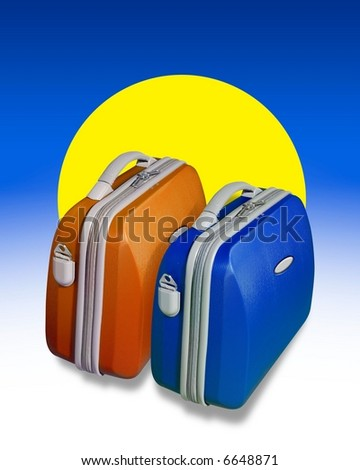 Two bright colored suitcases on a background of blue with a big yellow sun shape - stock photo