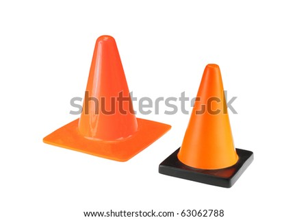 Two bright orange traffic cones isolated on white - stock photo