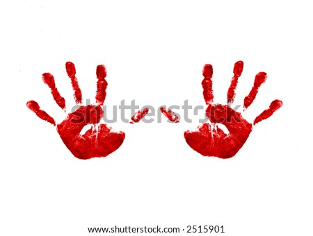 Two bright red childs handprints , made from colorful paint.