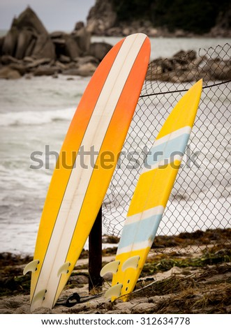 two bright yellow surfboards standing at the sea shore close up - stock photo