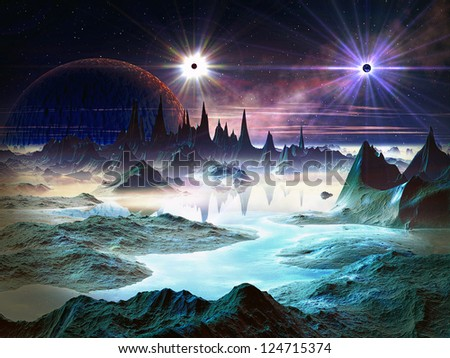 Two brilliant stars with huge planet in orbit above a alien world filled with iridescent blue rock formations and lakes. - stock photo