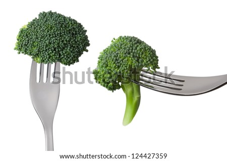 two broccoli florets on forks isolated against white background