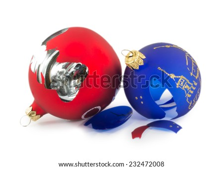 two broken Christmas balls isolated on a white background - stock photo
