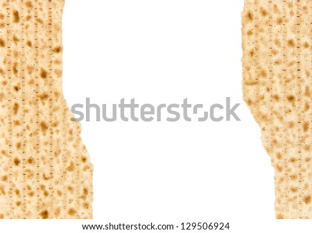 Two broken matzo pieces for the Passover seder afikoman. Horizontal view with lots of room for text. Isolated on a white background. - stock photo