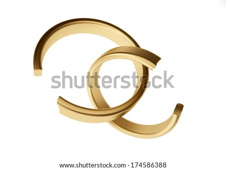 Two broken rings - stock photo