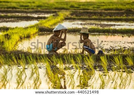 two brother kids farmer sitting and talking in rice field. - stock photo
