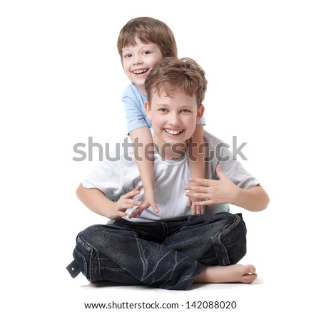 two brother play - stock photo