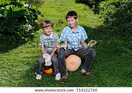 Two brother with big yellow pumpkin - stock photo