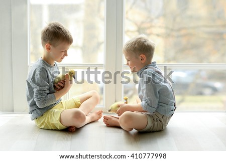 two brothers blonde in a striped shirt and shorts sitting on the floor near the window and kept in the hands of small yellow ducklings - stock photo