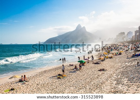 Two Brothers Mountain and Ipanema beach in Rio de Janeiro. Brazil. - stock photo