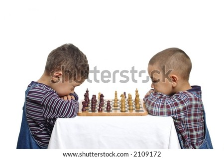 Two brothers playing chess
