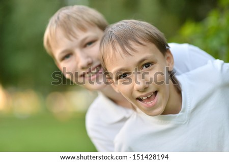 Two brothers playing outdoor - stock photo