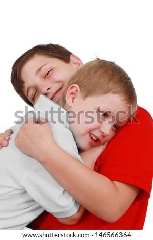 Two brothers share a hug