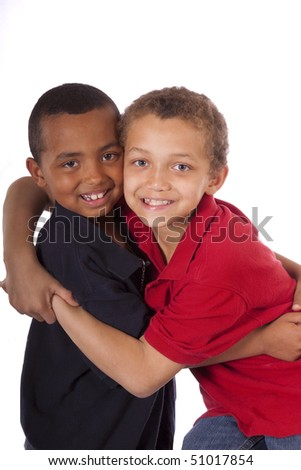 Two brothers with loving hug
