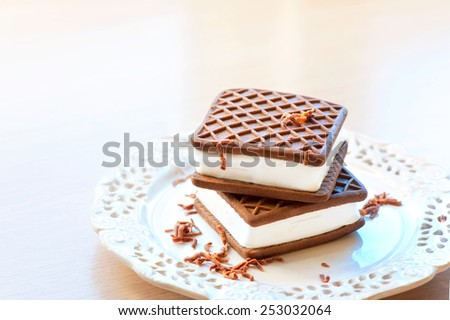 Two brown and white chocolate and vanilla ice-cream sandwiches on porcelain dish. Indoors close-up. - stock photo