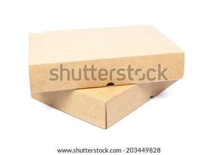 two brown boxs on white isolated background.on packshot in studio.