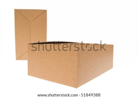 Two Brown cardboard box, Isolated on white.